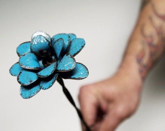 Turquoise Flower Industrial Chic Boho Teal Barbed Wire Stemmed 3d Metal Rose