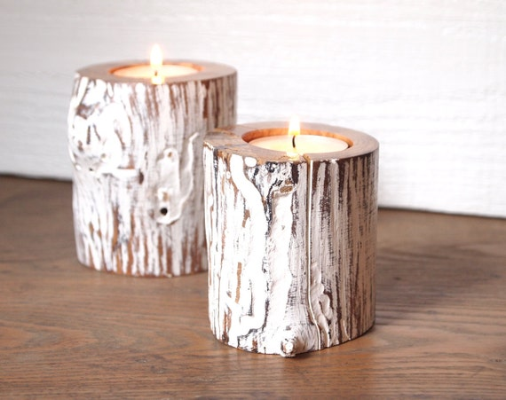 Candle Holders Cottage Tea Light Rustic Zen White Eco Friendly Wood Home Decor Set of Two