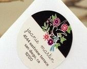 Custom Return Address Glossy Labels - Cocoa Mod Floral Bird - 1.5 inch Circle