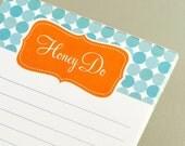 Honey Do Notepad - Tabitha in Aqua and Persimmon