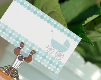 CLEARANCE - 15 Baby Shower Placecards - Modern Blue Circles and Vintage Carriage - Charley