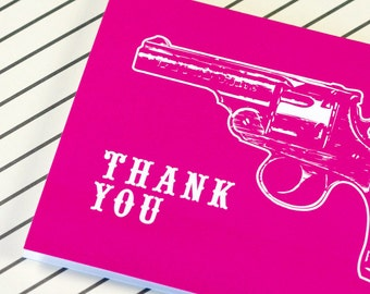 CLEARANCE - Hot Pink Vintage Pistol Thank You Cards - Western Pop - Trigger