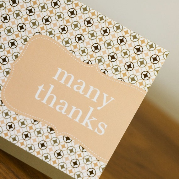 SALE - 10 Vintage Candy Shop Thank You Cards - Yummy Peachy Pink and Cocoa
