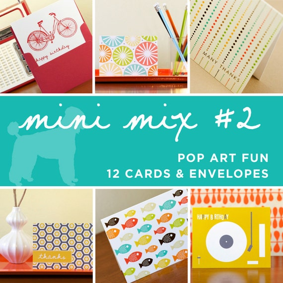 Greeting Card Mini Mix - 12 Cards in Assorted Designs - Pop