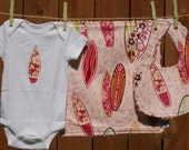 Pink Surfboard Baby Gift set - 3 pieces include bib, burp cloth, onesie (available in sizes Newborn - 24 months)