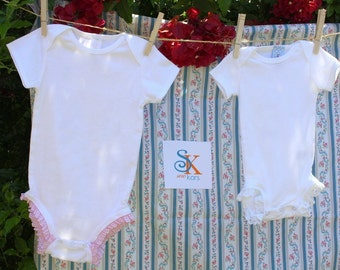 Ruffle Baby Bodysuit Gift set - one pink check ruffle bodysuit and one white eyelet ruffle bodysuit