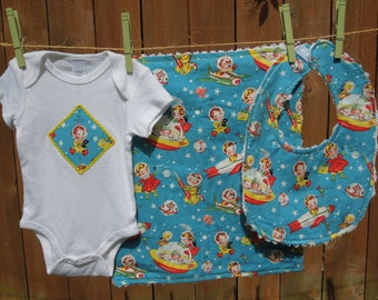 Space Baby Gift Set -  To the Moon - includes bib, burp cloth, bodysuit - available in size newborn - 24 months