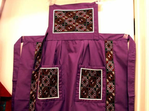 Hmong Needlework Apron Handmade Ethic Embroidered Fabric Long with Bib Purple Grape