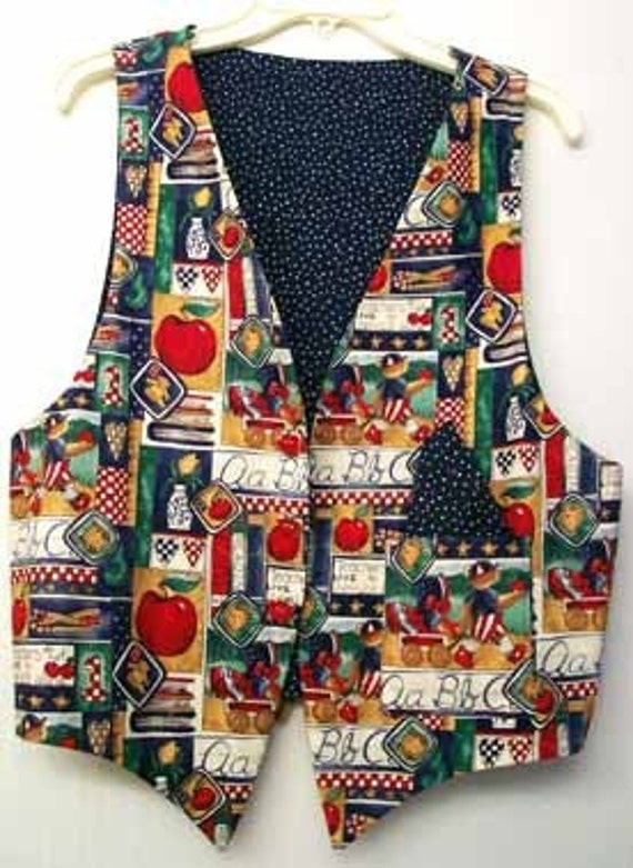 VEST with Ceramic APPLE Buttons Teacher Folk Art Fabric Lined OOAK