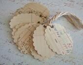 12 Vintage Ledger Paper  Large Scallop Oval Tags