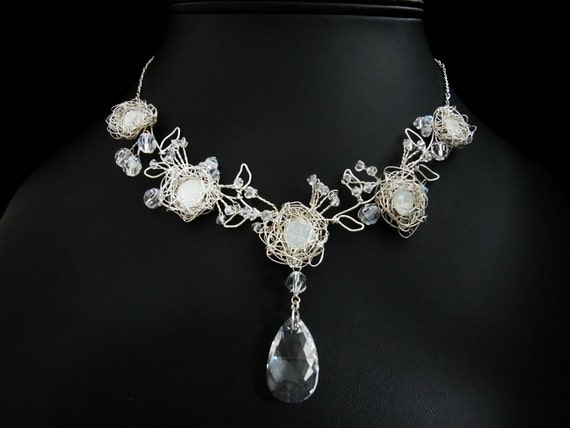 Princess White Opal in Sterling Silver - Bridal Necklace, Wedding Necklace