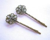 10 Filigree Hairpins Antique Bronze