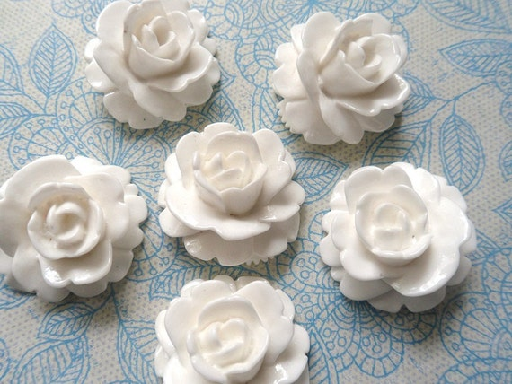 SALE Flower Cabochons, Large Rose Flower, Brite White Flower Cabochons - 10 Pieces