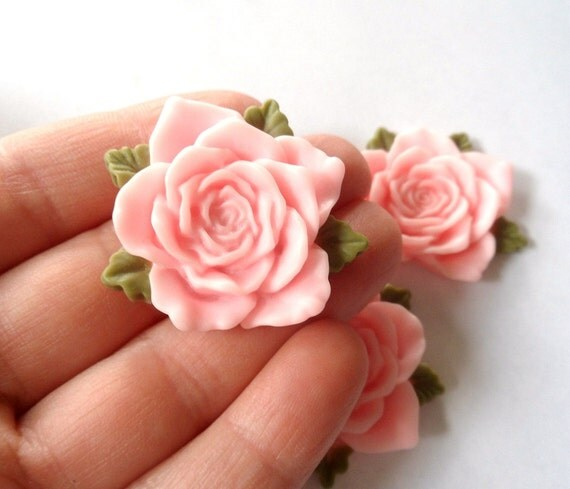 Pink Flowers -  Beautiful Pink Flower Cabachons -  3 Pieces