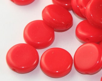 ON SALE 25 Bright red disk beads
