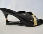 SALE Fun and Funky Vintage 1960s Cut Out Wedge