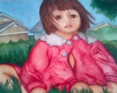 """The """"Emily"""" card is the epitome of a child dressing herself. Is number two in my series of watercolor cards by Sheshe."""