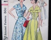 50s Uncut FF Vintage Dress Pattern Simplicity 2003 Rockabilly Full Skirt V Neck or Cape Collar Bust 41 Unused