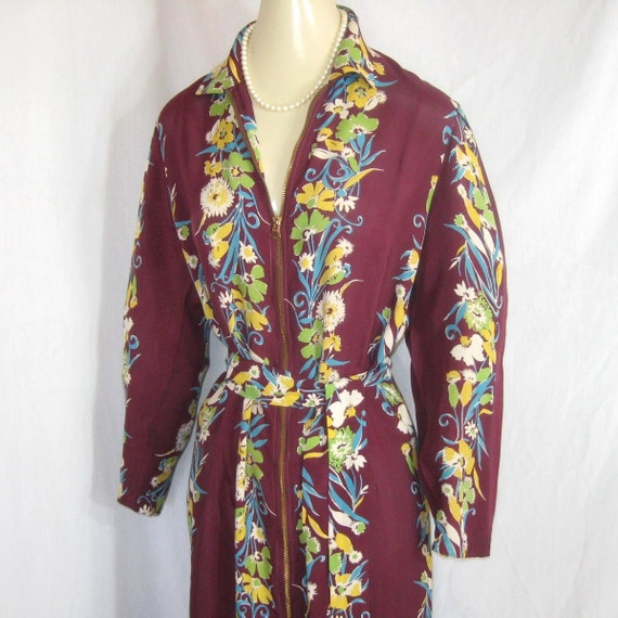 Vtg 30s 40s Dressing Gown Robe Fishtail Train Rayon Floral Print Bust 36