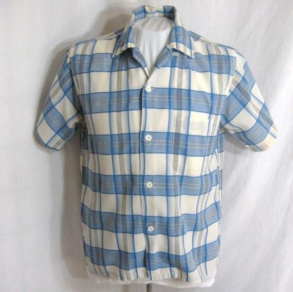 RESERVED FOR Sjoukie77 Vtg 1950s Mens Shirt Loop Button Collar Short Sleeve Brent Neck 15-15.5