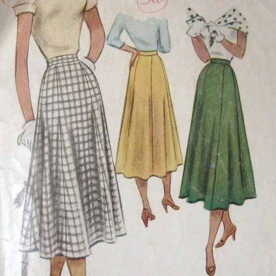 Vintage 50s Skirt Pattern Fitted Hip Full Lower McCalls 8089 Date1950 Rockabilly Swing Waist 30
