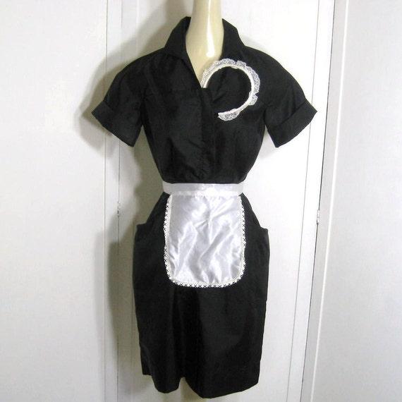 Vintage 50s 60s Waitress Uniform Dress And Accessories Lace