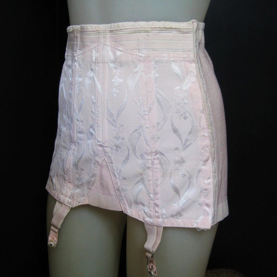 Reserved for Alex Vintage 50's Garter Girdle Boned Pink Brocade Rengo Crown Rayon Cotton Waist 30