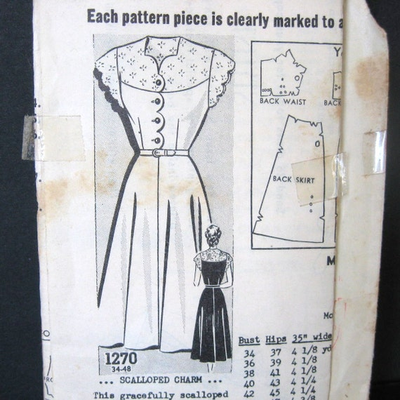 40s 50s Dress Scallop Details Full Skirt Vintage Mail Order Pattern Sew Rite 1270 Metered Postage Day or Cocktail Bust 38