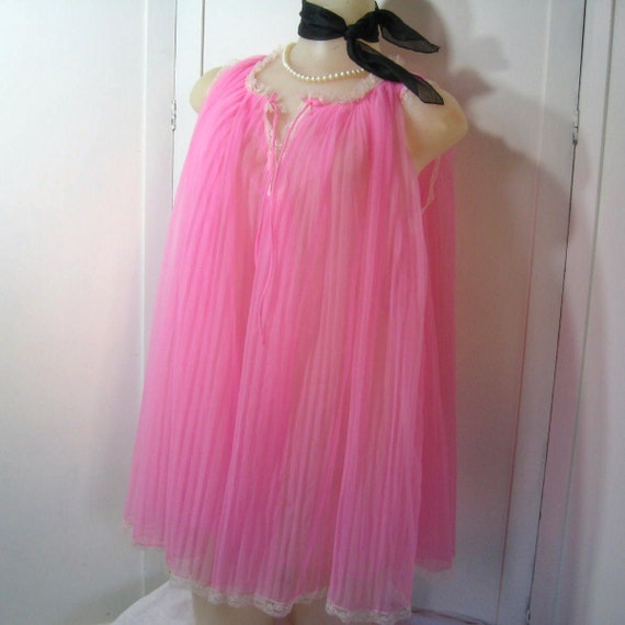 60s 70s Nightgown Babydoll Mini Nightie Accordion Pleats Nylon Sheer Pink Vintage Evette up to 36 Bust