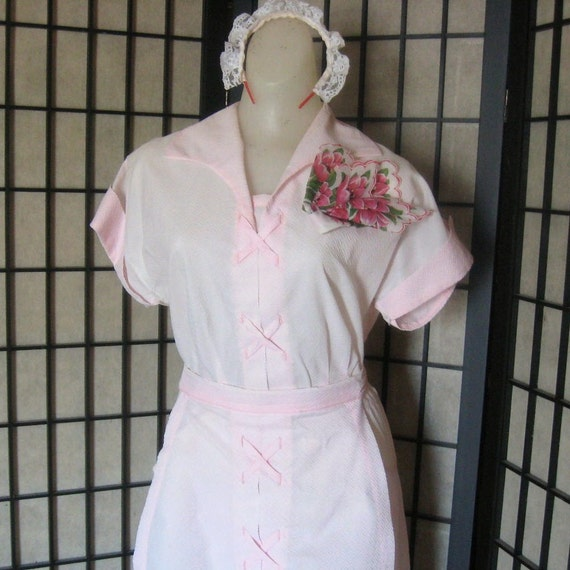 1950s Dress Waitress Uniform Pink With Apron Hankie And