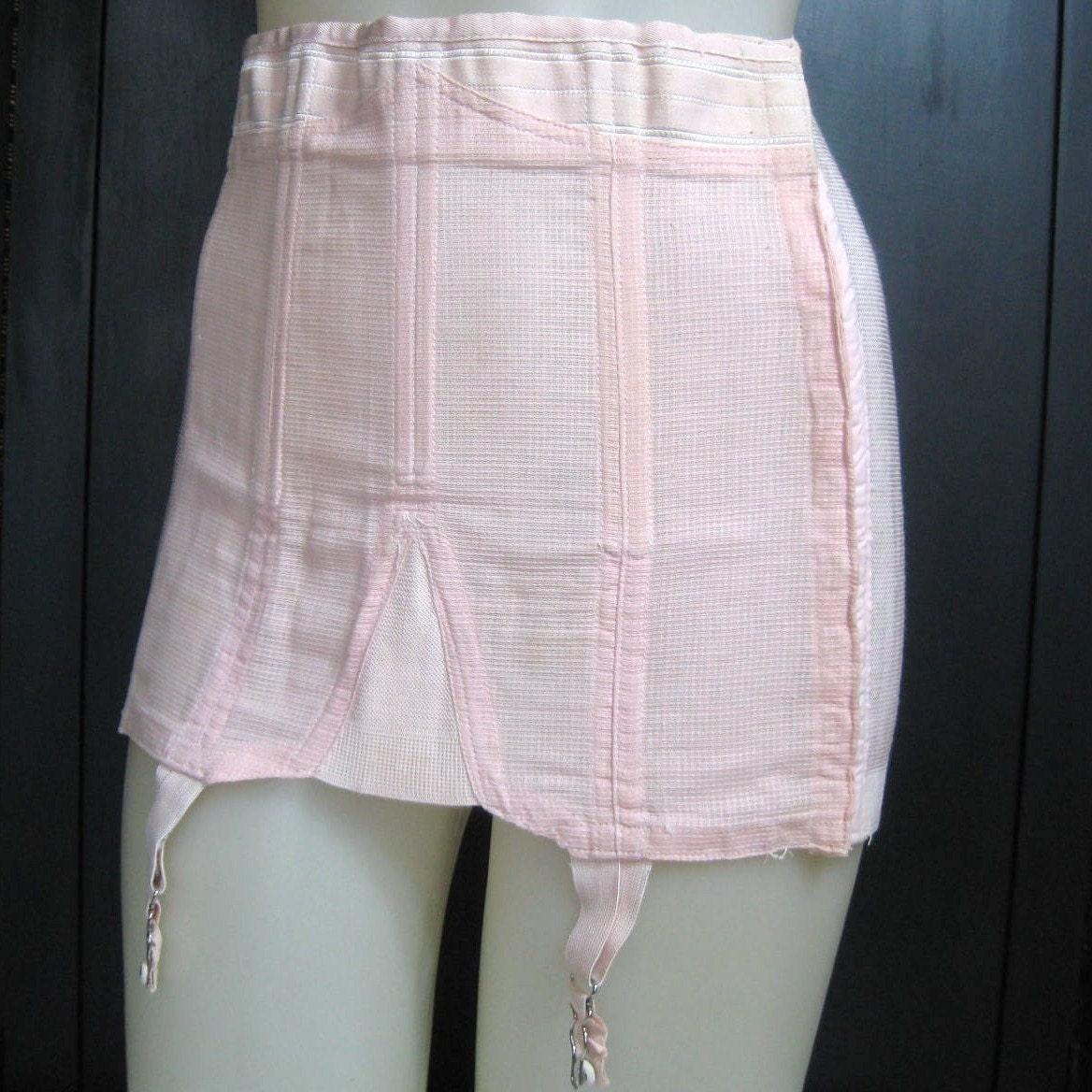 Vtg 30s 40s Pink Boned Stocking Garter Girdle Rengo Crown