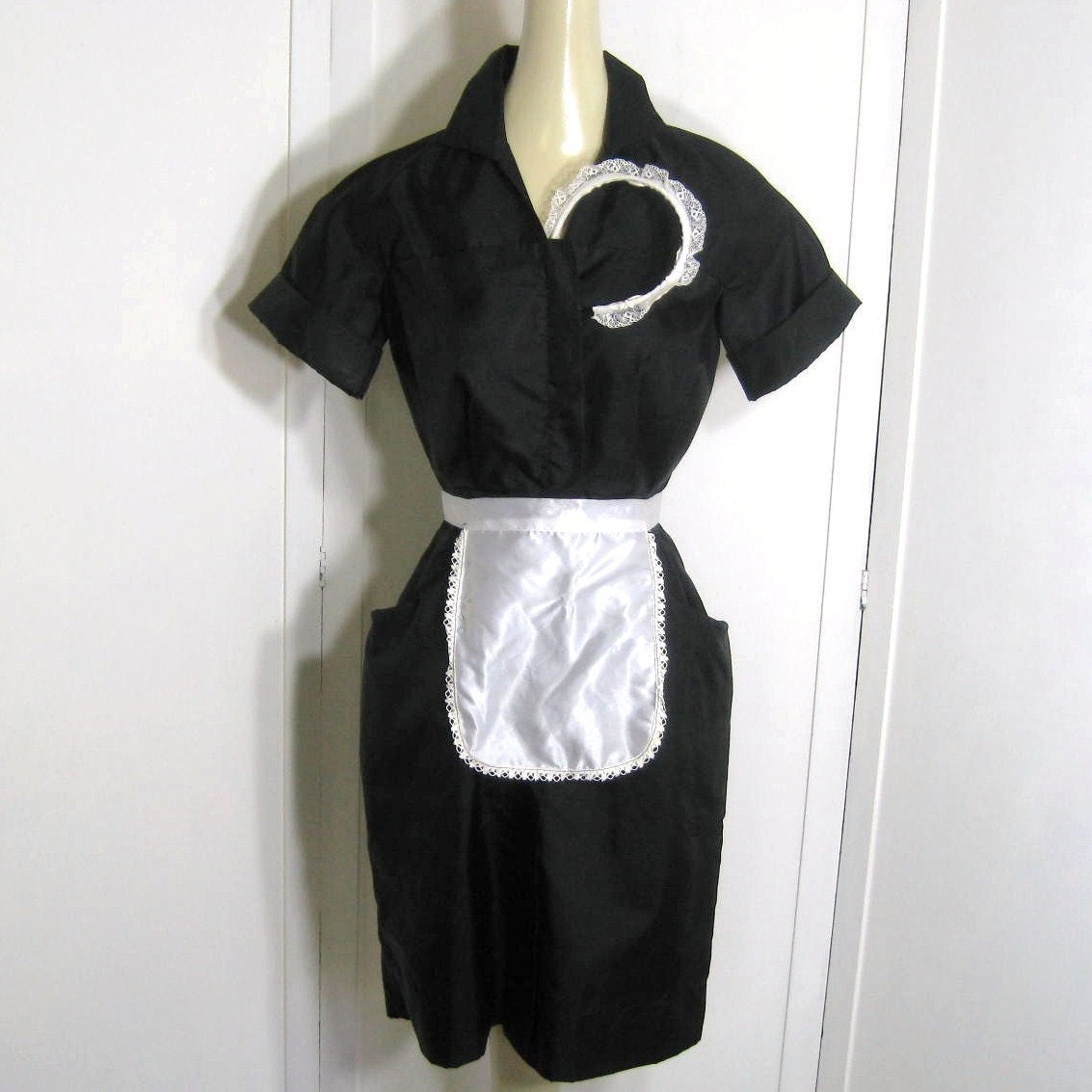 Vintage 50s 60s Waitress Uniform Dress And Accessories Lace