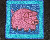 PINK PIG   one of a kind, whimiscal, colorful fiber art