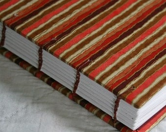 SALE: Coral Stripe Handmade Journal - Available to Ship Now