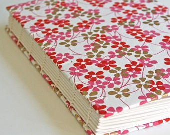 Pink Flowers Handmade Book - Available to Ship Now