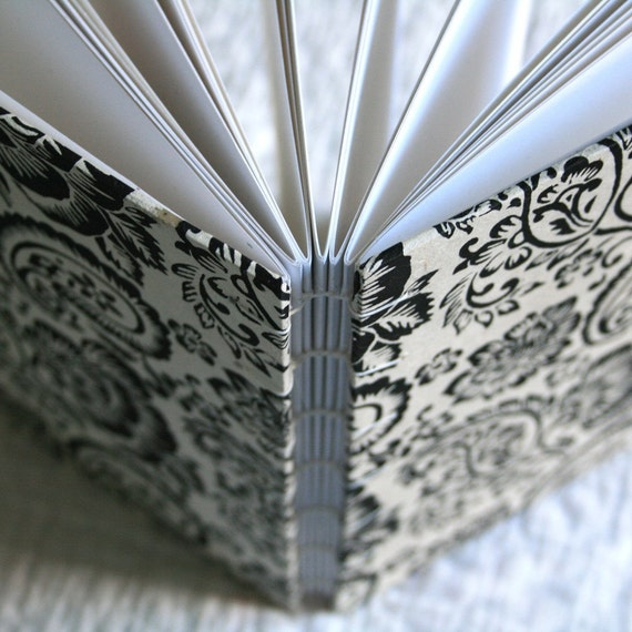 Black and Cream floral toile Handmade Book ready to ship oo