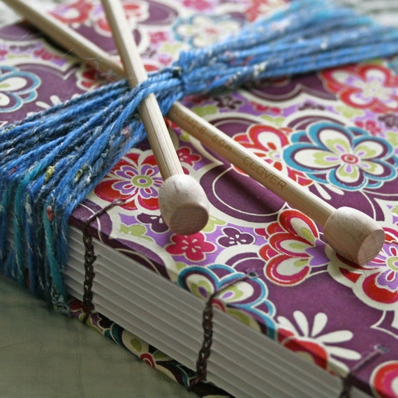 Knitting Journal Pdf : Knitting journal with burgandy lace flowers available to ship
