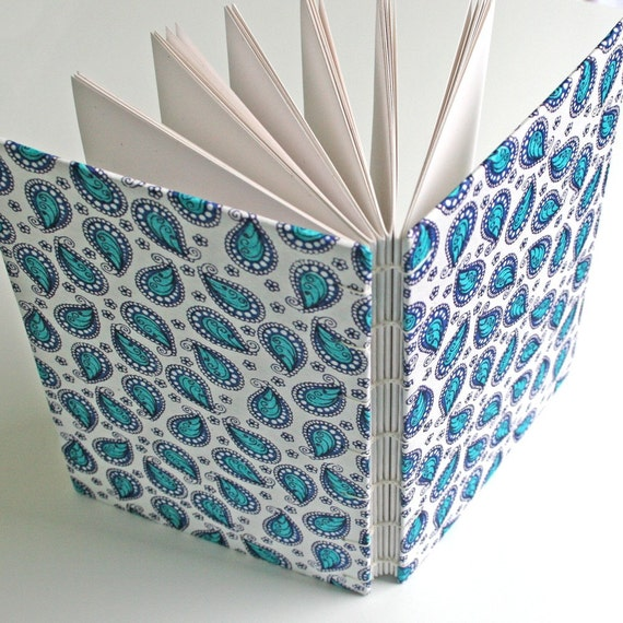 Blue Paisley Handmade Journal - Available to Ship Now