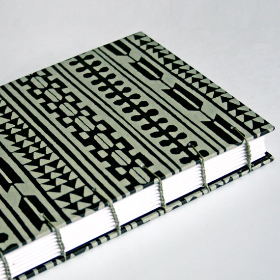 Sage Green and Black Handmade Book - Available to Ship Now
