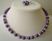 Single Strand Dark  Purple Pearl Swarovski and Rhinestone Beaded Necklace and Earring Set