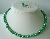 Single Strand Clover Green Pearl Beaded Necklace and Earring Set    Great Brides or Bridesmaid Gifts