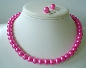 10mm Single Strand Hot Pink Pearl Beaded Necklace and Earring Set    Great Brides or Bridesmaid Gifts
