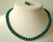 Single Strand Dark Teal Green Pearl Beaded Necklace and Earring Set    Great Brides or Bridesmaid Gifts