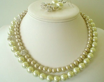 Ivory and Champagne Pearl with Rhinestones Two strand Beaded Bridal Necklace Set