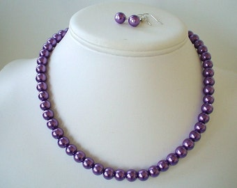Single Strand Dark Purple Pearl Beaded Necklace and Earring Set    Great Brides or Bridesmaid Gifts