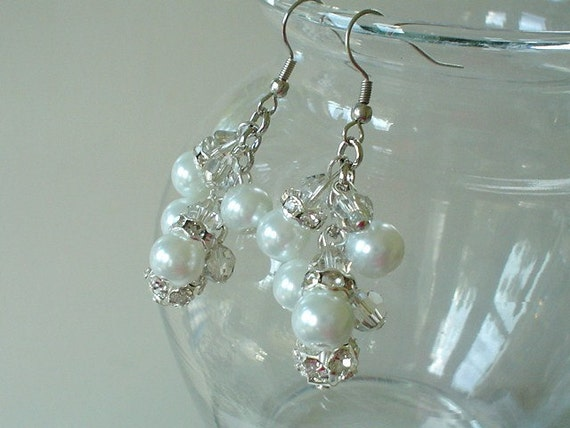 Bridal White Pearl Rhinestone Cluster Beaded Earrings