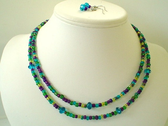 Teal and Purple Colored Glass Seed Bead Two Strand Necklace Set