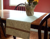 Table Runner for Fall - Pale Green Leaves - Autumn Home Decor