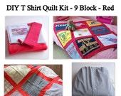 DIY T Shirt Quilt Kit - 9 Block - T Shirt Memory Quilt - Baby Quilt - Lap Quilt - Red Dot, Square