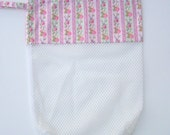 Mesh Drawstring Bag - Storage Bag - Pink Floral Stripes